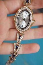 "Turkish Ottoman Style Ottoman blue topaz  925 Silver Wrist Watch handmade 8"""