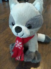 """Animal Adventure Sweet Sprouts 8"""" Raccoon Baby Plush Scarf Gray Grey Stuffed Toy"""