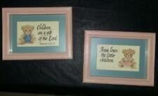 Set Of 2 Teddy Bear Jesus Loves The Little Children Framed Kids Room Pictures