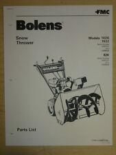 "1980 FMC BOLENS 26"" SNOW THROWER MODEL 1026 1032 826 PARTS LIST MANUAL"