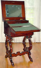 "c1870 Renaissance Victorian work table, foldout desk, solid figured walnut, 34""t"