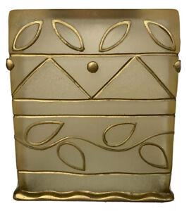 Wamsutta Monique Tissue Cover Handpainted Goldtone Translucent Resin Square Cube