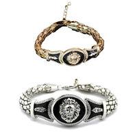 Bracelet en cuir tressé de tête de Lion d'hommes