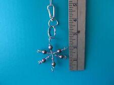 "Handmade Metal Snowflake w/ beads? 2.5""in diameter keychain"
