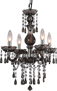 4-Light Branch Crystal Chandelier Mini Black Metal Chain Pendent Lamp Height Adj