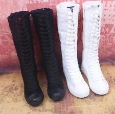 Freiheit Stiefel Damenschuhe Boots Schnürschuhe flach Canvas Segeltuch Sneakers