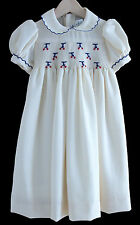 Hand Smocked Dress Clementine Collection Italy Cream Wool  24m New
