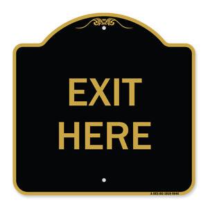 Designer Series Sign - Exit Here | Black & Gold Heavy-Gauge Aluminum
