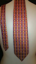 Gino Rossi Men's Vintage Tie in a Green Blue Yellow and Red Geometric Pattern