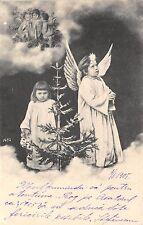 B2122 Jeune Fille et garcon Anges PPC 1900 front/back scan