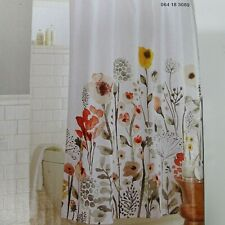 Threshold Shower Curtain Fabric Multicolor Floral Wave Cotton 72 x 72 inch