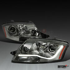 Fit 99-06 Audi TT Smoke Lens LED DRL Strip Projector Headlights w/ Built-In Fog
