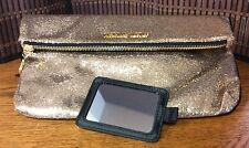 Victorias Secret Fold Over Clutch Mirror Glitter Sparkle Gold Sexy New H33