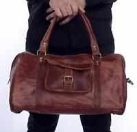 "20"" Leather Retro Men's Brown Vintage Handmade Travel Luggage Duffle Gym Bag"