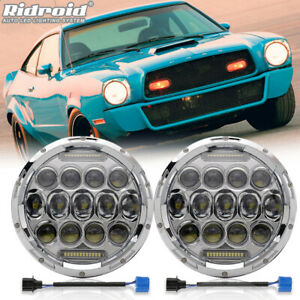 "For Ford Mustang II 1974-1978 Pair 7"" Inch Round LED Headlight Hi/Lo Beam Chrome"