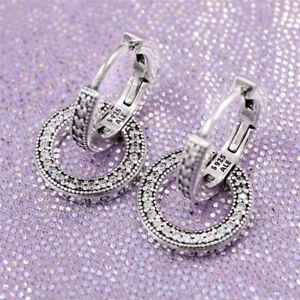 Pandora earrings 299052C01 Funkelnde Doppel-Ohrringe ALE S925