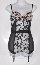 Victoria's Secret Lace & Mesh Corsette Bustier With Garters Black & Nude 34B NWT
