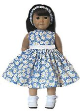"""AMERICAN MADE DOLL CLOTHES fits 18"""" Girl Doll HANDMADE BLUE DAISY DRESS"""