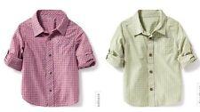NWT Old Navy 18-24M Plaid Poplin Rolled-Sleeve Shirt Toddler Dress Shirt 2 Piece