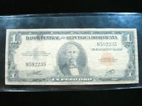 Dominican Republic 1 Peso 1947 Early Single Prefix N 5E# Currency Money Banknote