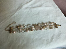 Beautiful Clasp Bracelet Gold Tone Beige Clear Beads 7-9 Long x 1 Inch Wide WOW