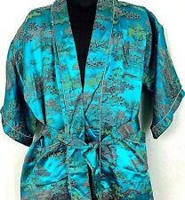 Vintage Asian Robe Boys Girls Oriental Print Silk Tie Waist Blue Size 32 L