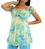 Blue Green Floral Maternity Short Sleeve Top New Solid Blouse Pregnancy Paisley