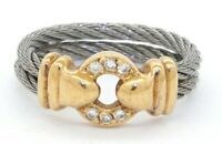 Philippe Charriol 18K gold .09CT VS1/G diamond double SS cable cocktail ring