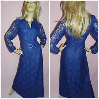 VINTAGE 70s NAVY BLUE LACE MAXI EVENING DRESS 14 M 1970s