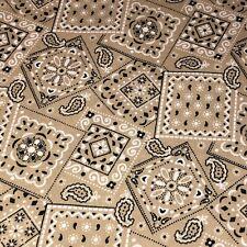 Khaki - Blazin' Bandana 100% cotton fabric by the yard 36 x 44 - Khaki Tan/Beige