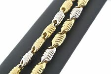 14kt Two-Tone Gold Men's Fancy Chain Necklace 26 Inches, 32.2gm