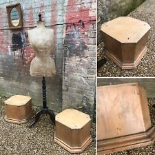 Antique Pine Wooden Shop Display Block Cube Stand Art Sculpture Taxidermy PAIR