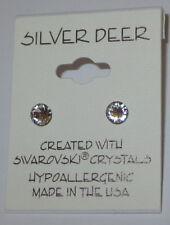Clear Crystal Earrings 5mm Diamond Cut Hypoallergenic Made With Swarovski K006