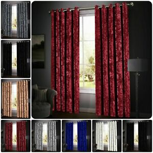 New Crushed Velvet Eyelet Ring Top Santiago Curtains Pair Ready Made Fully Lined