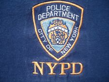 Vintage NYPD New York Police Department Embroidered Badge Logo T Shirt XL Blue