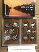 (2) 2020 S Us Mint America The Beautiful Proof 5 Coin Quarter Set - with Box Coa