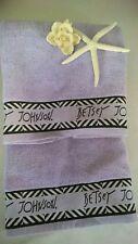 Betsey Johnson Lilac/Lavender/Black Chevron Lot of (2) Hand Towels  BNWT