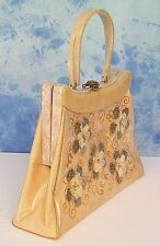 LARGE ViNTAGE RiALTO PLASTiC COVERED BEADED FLORAL PEARLiZED LUCiTE BAG PURSE