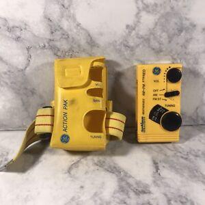 GE Pocket Portable AM/FM Radio (7-1990-YLA ) w/ Arm Band & Portable Holder