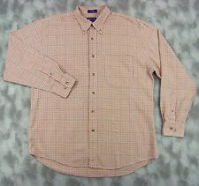 Pendleton Mens Lightweight Cotton Flannel Shirt Large White Orange Houndstooth