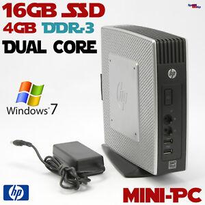 Dual Core Mini Thin PC Computer HP 16GB SSD 4GB DDR3 Dual Head Windows 7 19WATT