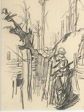 HENRI-LUCIEN CHEFFER (1880-1957) - WW1 TRENCH SCENE 1916 - BONHAMS PROVENANCE