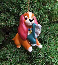 DISNEY GROLIER Porcelain Treasures Lady & the Tramp Stocking Christmas Ornament