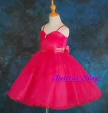 50% OFF SALE Hot Pink Wedding Flower Girl Pageant Party Formal Dress Sz 4-5T 072