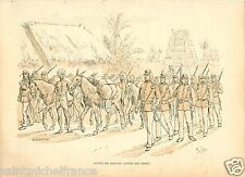 INDIA ARMY INDE INFANTRY CONVOI 1887 NETHERLANDS PAYS BAS UNIFORM ANTIQUE PRINT