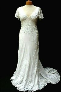 Temperley Ivory Long Honeysuckle Embroidered Wedding Dress Bridal Gown 14 42 New
