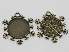 10 Antique Bronze Snowflake Pendant Cameo Cabochon Setting Blank DIY Inner:25mm