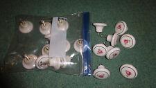 Lot Set 19 Cabinet Drawer Knobs White Porcelain Pink Flower Gold Trim