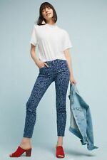NWT ANTHROPOLOGIE PILCRO LEOPARD MIDRISE SKINNY ANKLE JEANS BLUE 28P 28 PETITE