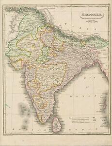 LANDKARTE HINDUSTAN Indien, Pakistan, Ceylon, Nepal handkolorierte Landkrte 1820